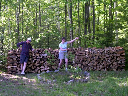 howard, kathy and a lot of wood